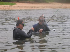 Alan and Kevin - snorkel and fishing pole