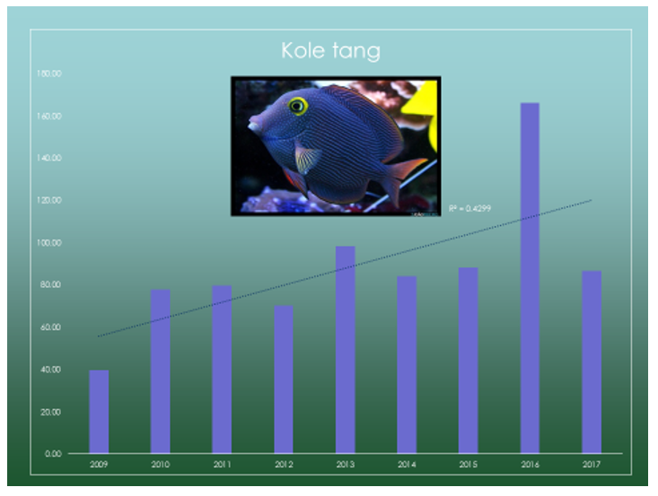 Up-close look at increases in kole tangs over all sites and years: