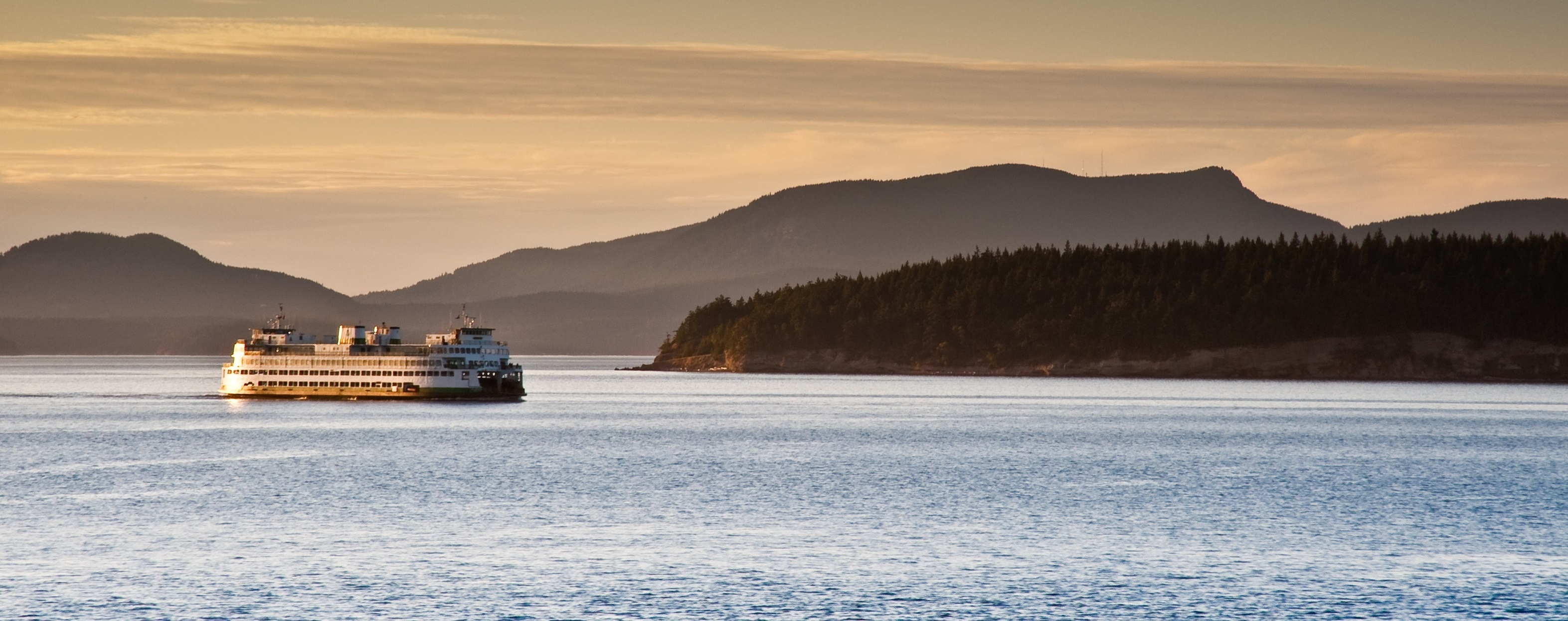 Ferry boat in Puget Sound at sunset