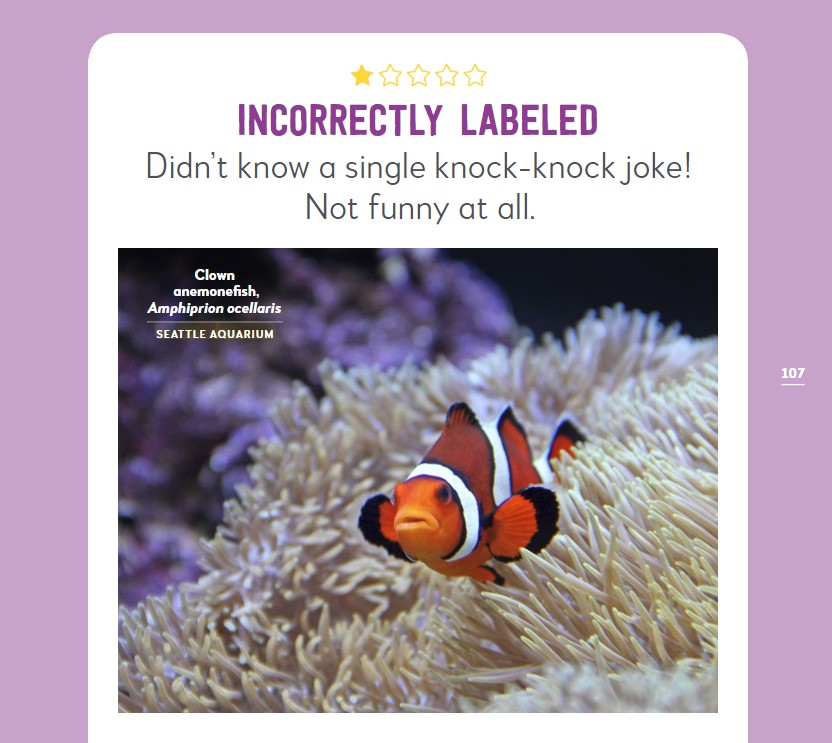 "Photograph of clownfish with 1-star rating. ""Incorrectly labeled. Didn't know a single joke!"""