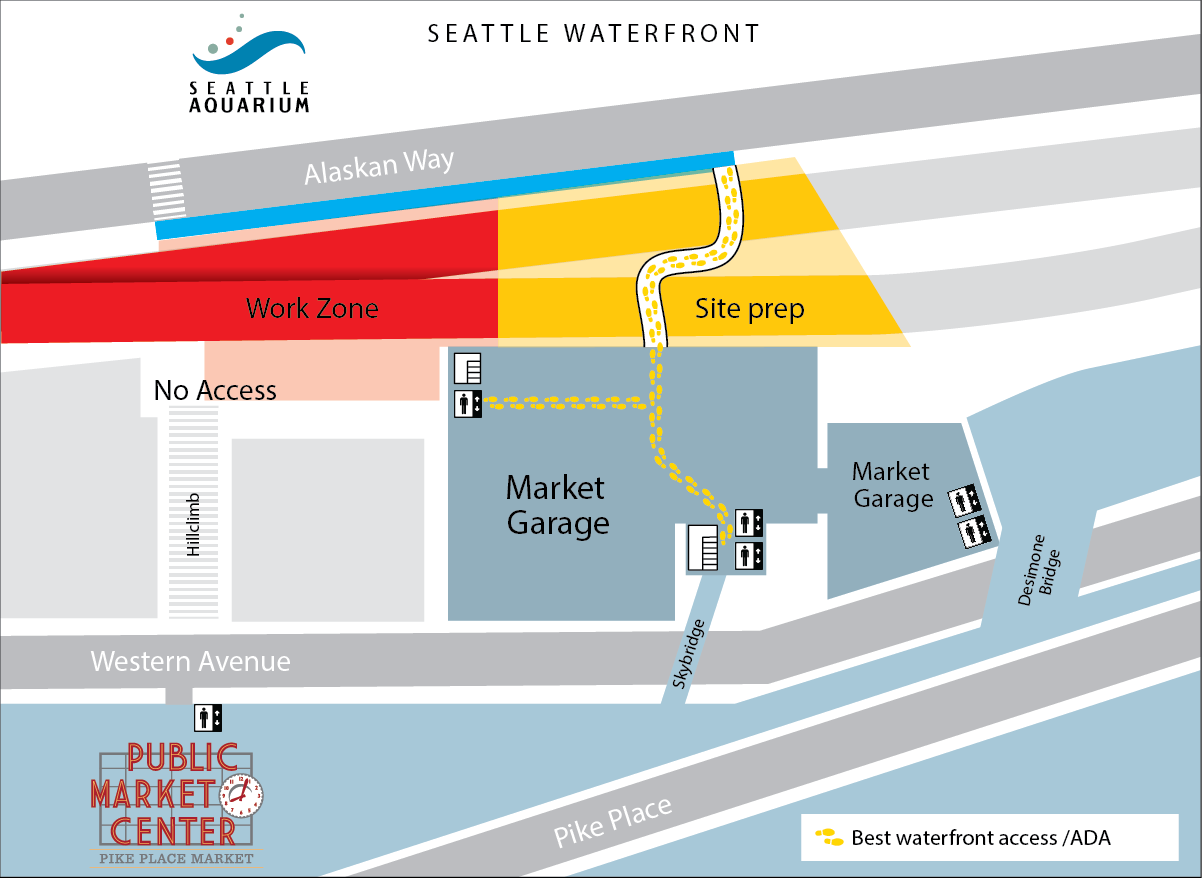 Map of walking directions on Seattle Waterfront