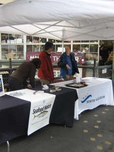 Seattle Aquarium and Seafood Watch booth at Pike Place Market