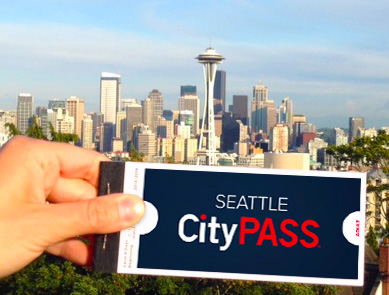 Seattle skyline with CityPass coupons