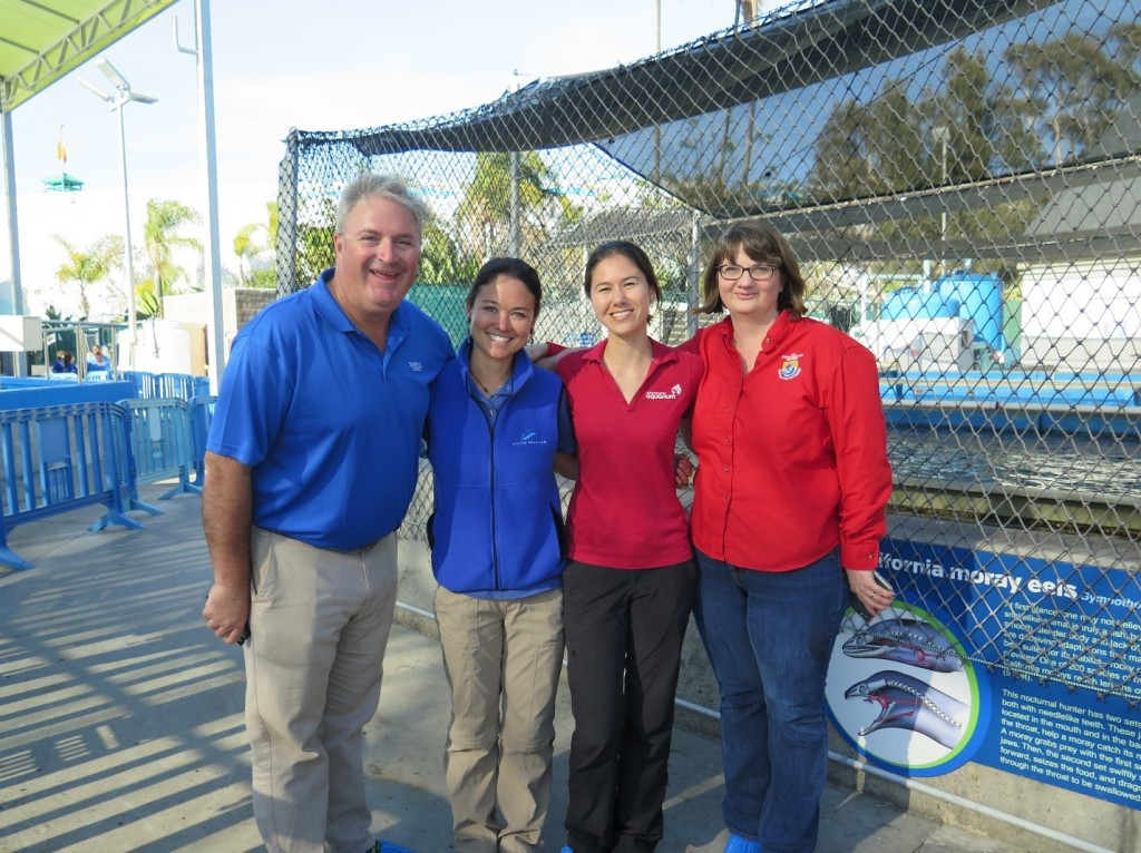 From left to right: Mike Price, assistant curator of fish and invertebrates (SeaWorld), Amy Green, laboratory technician (Seattle Aquarium), Dr. Karisa Tang, veterinarian (Vancouver Aquarium), and Laura Todd (USFWS).