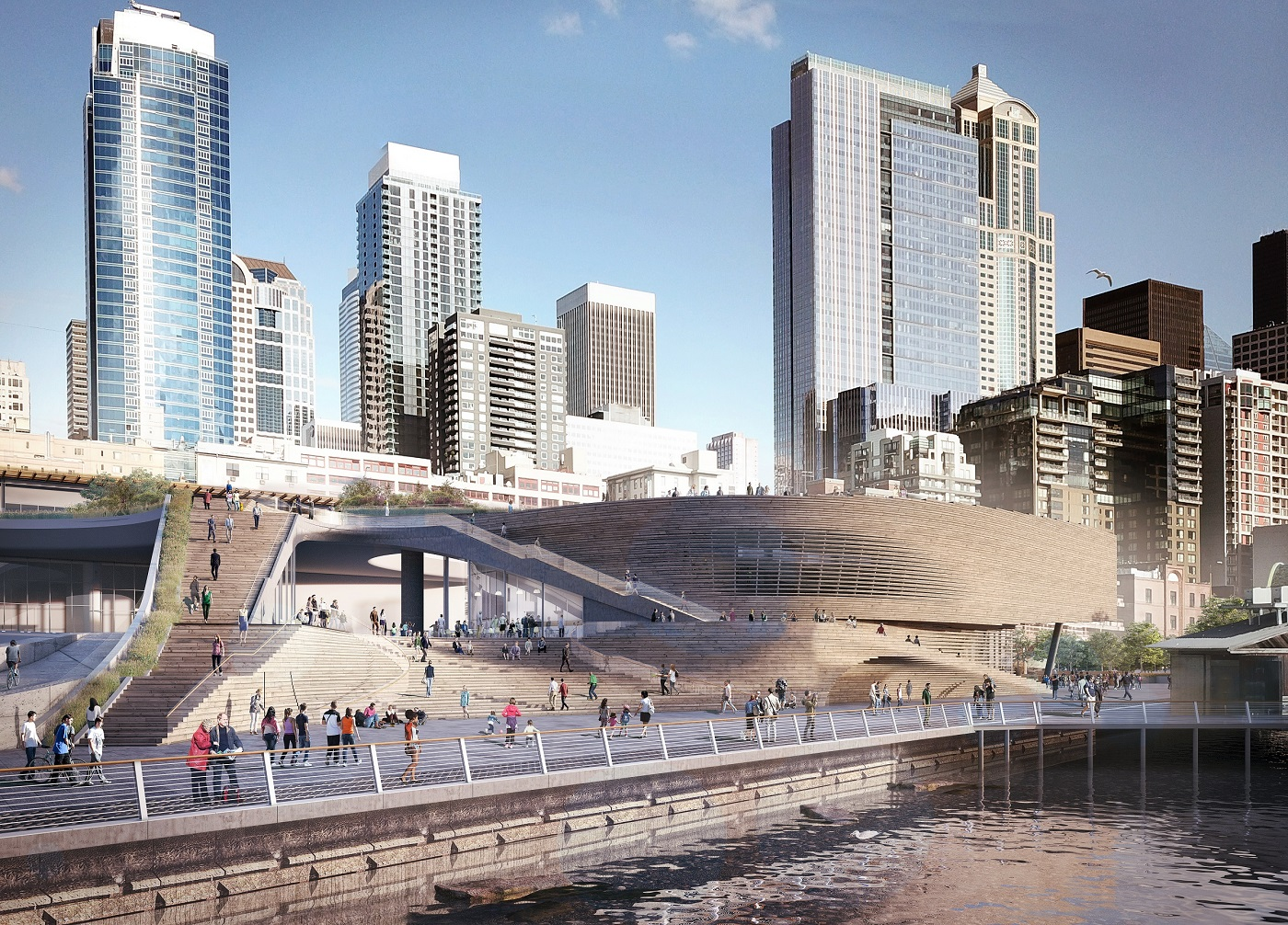 Digital image of proposed Seattle waterfront