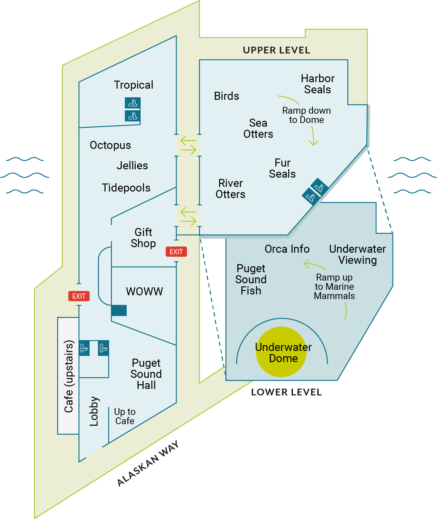 seattle aquarium exhibit map highlighting underwater dome