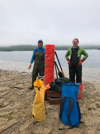 Kelsey and Elsie with the soft sediment sampling gear in Kinak Bay.