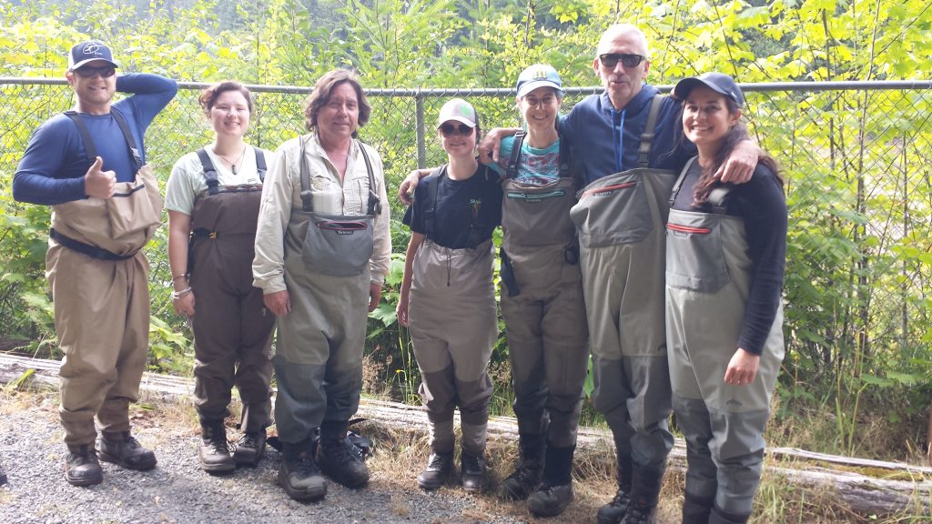 The sampling crew (Shelley in the middle) of biologists from NOAA and the Lower Klallam Elwha tribe.
