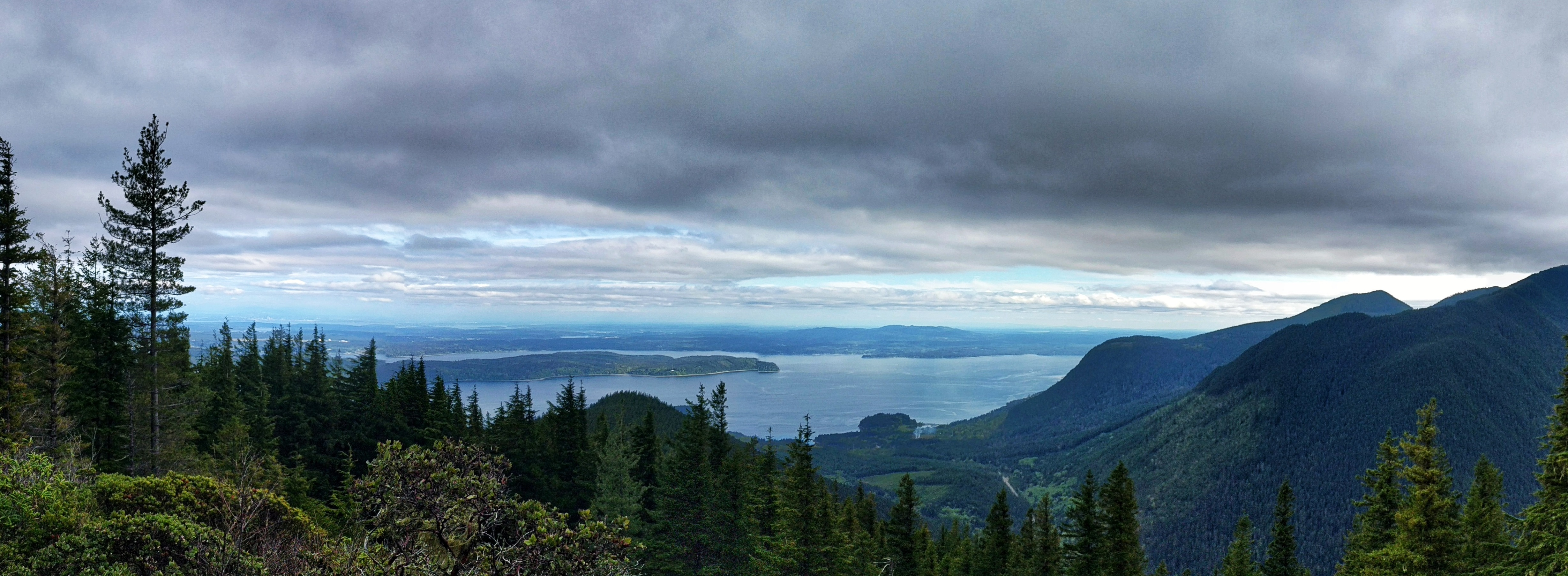 Panoramic view from atop Mount Walker of Puget Sound and Olympic Mountains, Washington