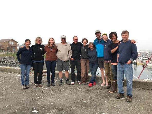 The team of scientists back from a productive trip on the Katmai coast.