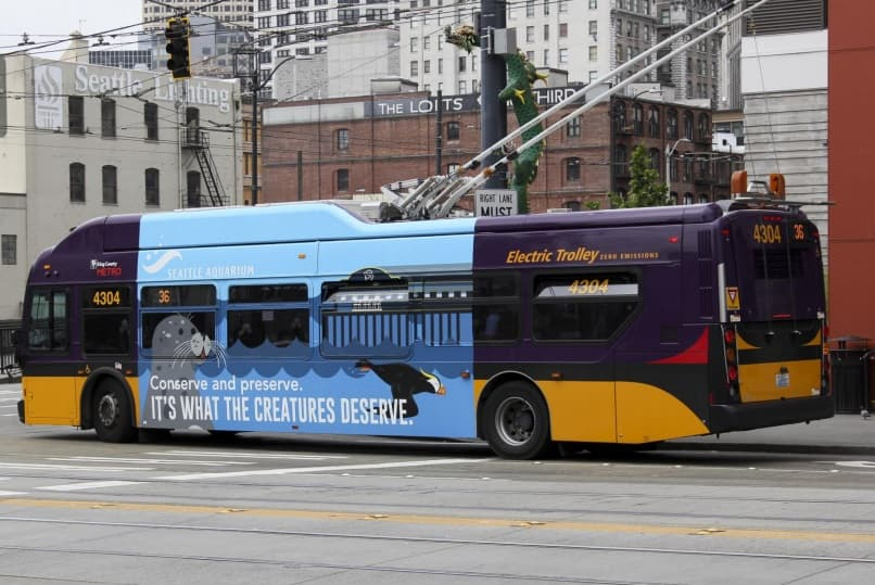 King County Transit with Seattle Aquarium conservation messaging billboard