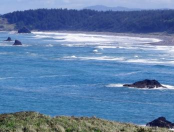 View of the ocean at Cape Blanco in Oregon.