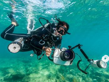 Cristina Mittermeier diving underwater while holding a underwater camera rig.