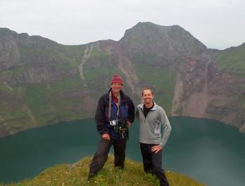 Dr. James Estes (left) and Eric Danner (right) on Kasatochi Island.