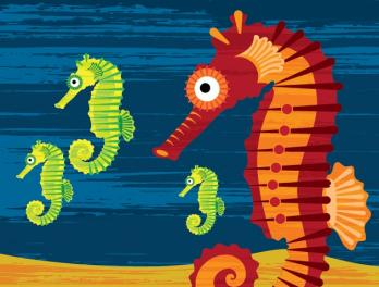 Graphic of five colorful seahorses
